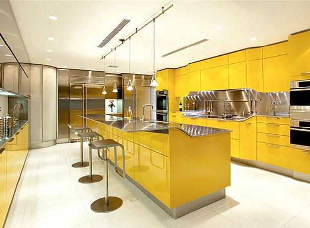 A splash of color 13 colorful kitchen design ideas for Modern yellow kitchen cabinets
