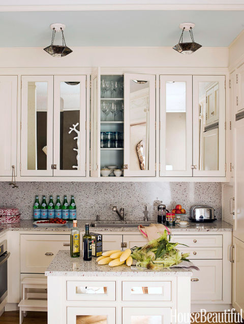 small-kitchen-design-mirrored-cabinet-doors